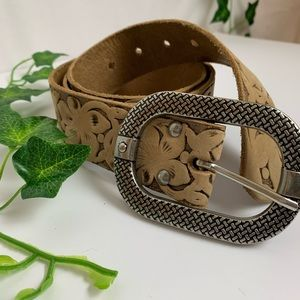 Embossed Floral Pattern Genuine Leather Belt